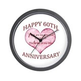 60th wedding anniversary Wall Clocks
