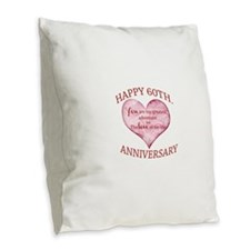 60th. Anniversary Burlap Throw Pillow