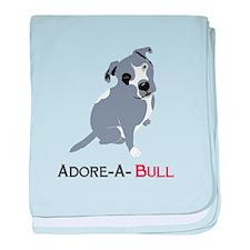 Grey Pittie Puppy Adore-A-Bull baby blanket