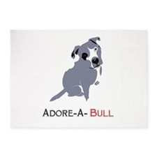 Grey Pittie Puppy Adore-A-Bull 5'x7'Area Rug