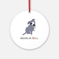 Grey Pittie Puppy Adore-A-Bull Ornament (Round)