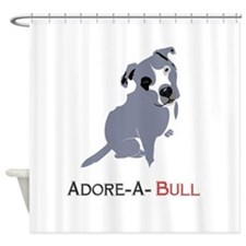 Grey Pittie Puppy Adore-A-Bull Shower Curtain