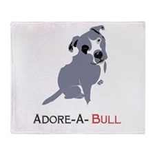 Grey Pittie Puppy Adore-A-Bull Throw Blanket