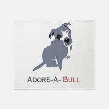 Grey Pittie Puppy Adore-A-Bull Throw Blanket