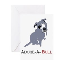Grey Pittie Puppy Adore-A-Bull Greeting Cards