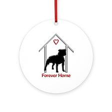 Forever Home Logo Pitbull Black Ornament (Round)