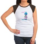 Flower with Pink Ribbon  Women's Cap Sleeve T-Shir