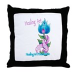 Flower with Pink Ribbon  Throw Pillow