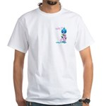 Flower with Pink Ribbon White T-Shirt