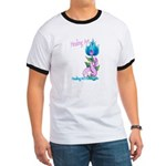 Flower with Pink Ribbon  Ringer T