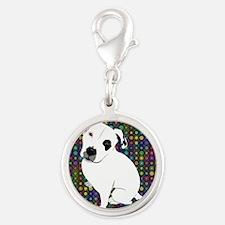 Cute white pit Bull circle pattern Charms