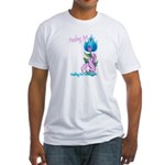 Flower with Pink Ribbon  Fitted T-Shirt