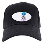 Flower with Pink Ribbon Black Cap
