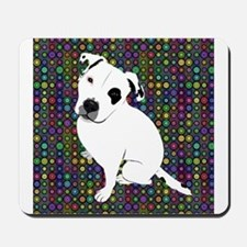 Cute white pit Bull circle pattern Mousepad