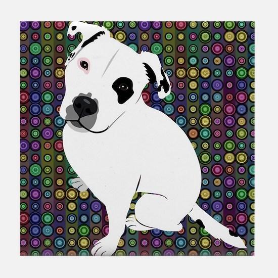 Cute white pit Bull circle pattern Tile Coaster