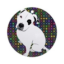 Cute white pit Bull circle patter Ornament (Round)