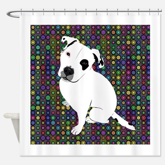 Cute white pit Bull circle pattern Shower Curtain