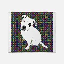 Cute white pit Bull circle pattern Throw Blanket