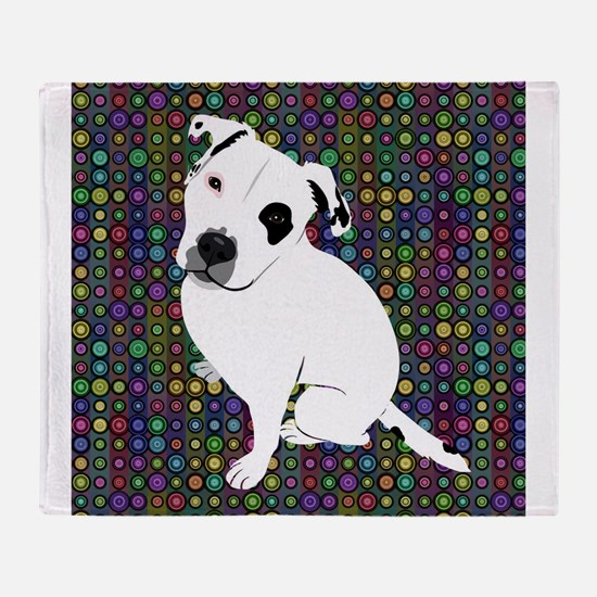 Cute white pit Bull circle pattern Throw Blanket
