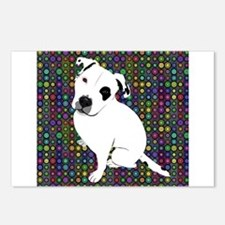 Cute white pit Bull circl Postcards (Package of 8)
