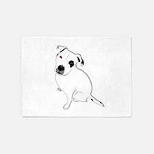 Cute Pitbull PuppyWhite Shaded 5'x7'Area Rug
