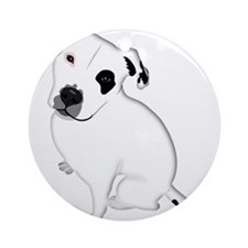 Cute Pitbull PuppyWhite Shaded Ornament (Round)