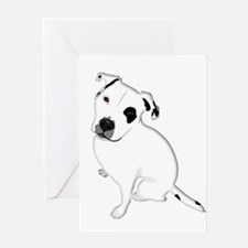 Cute Pitbull PuppyWhite Shaded Greeting Cards
