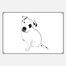 Cute Pitbull PuppyWhite Shaded Banner