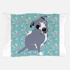 Cute grey pit Bull square pattern Pillow Case