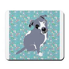 Cute grey pit Bull square pattern Mousepad