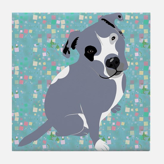 Cute grey pit Bull square pattern Tile Coaster