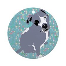 Cute grey pit Bull square pattern Ornament (Round)