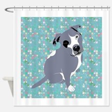 Cute grey pit Bull square pattern Shower Curtain