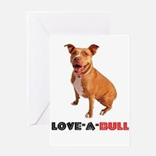 Cute Brown Pittie Love-a-Bull Greeting Cards
