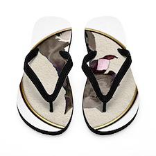 Black White Pit Bull Flip Flops