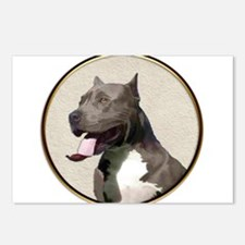 Black White Pit Bull Postcards (Package of 8)