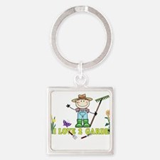 Light Guy Farmer brunette I LOVE 2 GARDE Keychains