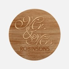 """Brown Wood Texture Mr and Mrs Custom 3.5"""" Button"""