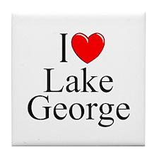 """""""I Love Lake George"""" Tile Coaster"""