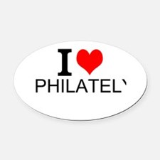 I Love Philately Oval Car Magnet