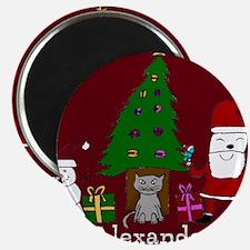 Christmas Santa and Cat Magnets