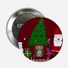 """Christmas Santa and Cat 2.25"""" Button"""