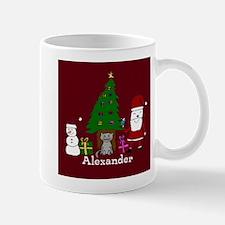 Christmas Santa and Cat Mugs