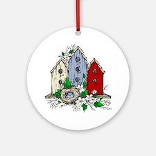 Three Birdhouses and a Nest copy Ornament (Round)