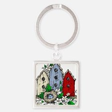 Three Birdhouses and a Nest copy Keychains