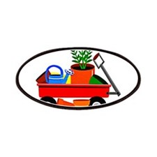 Red Wagon with Plants GArden Tools copy Patches
