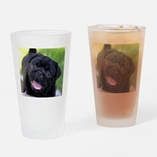 Black Pug Drinking Glass