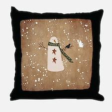 Primitive Snowman Throw Pillow