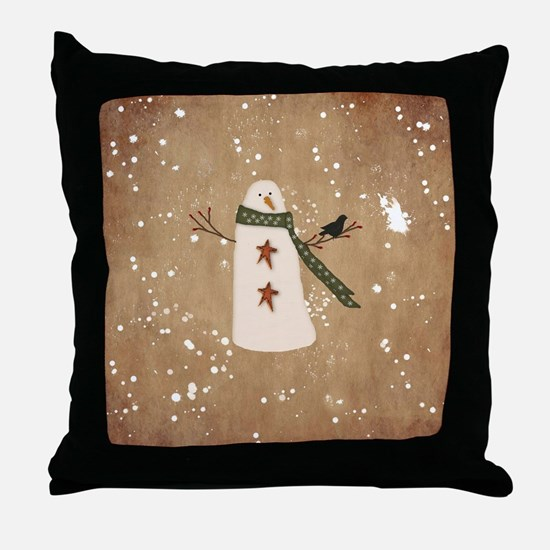 Primitive Snowman Throw Pillow