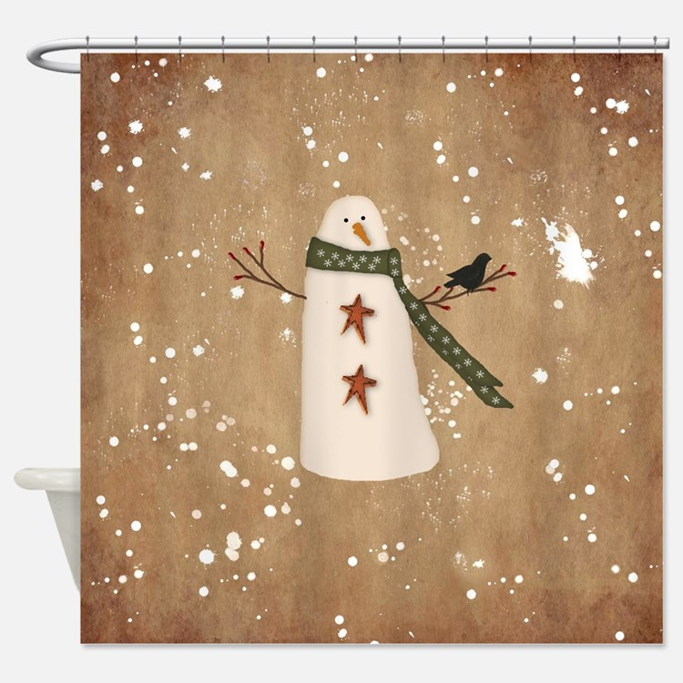 Primitive Snowman Shower Curtain
